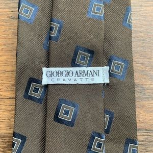 Giorgio Armani Brown & Blue Silk Tie